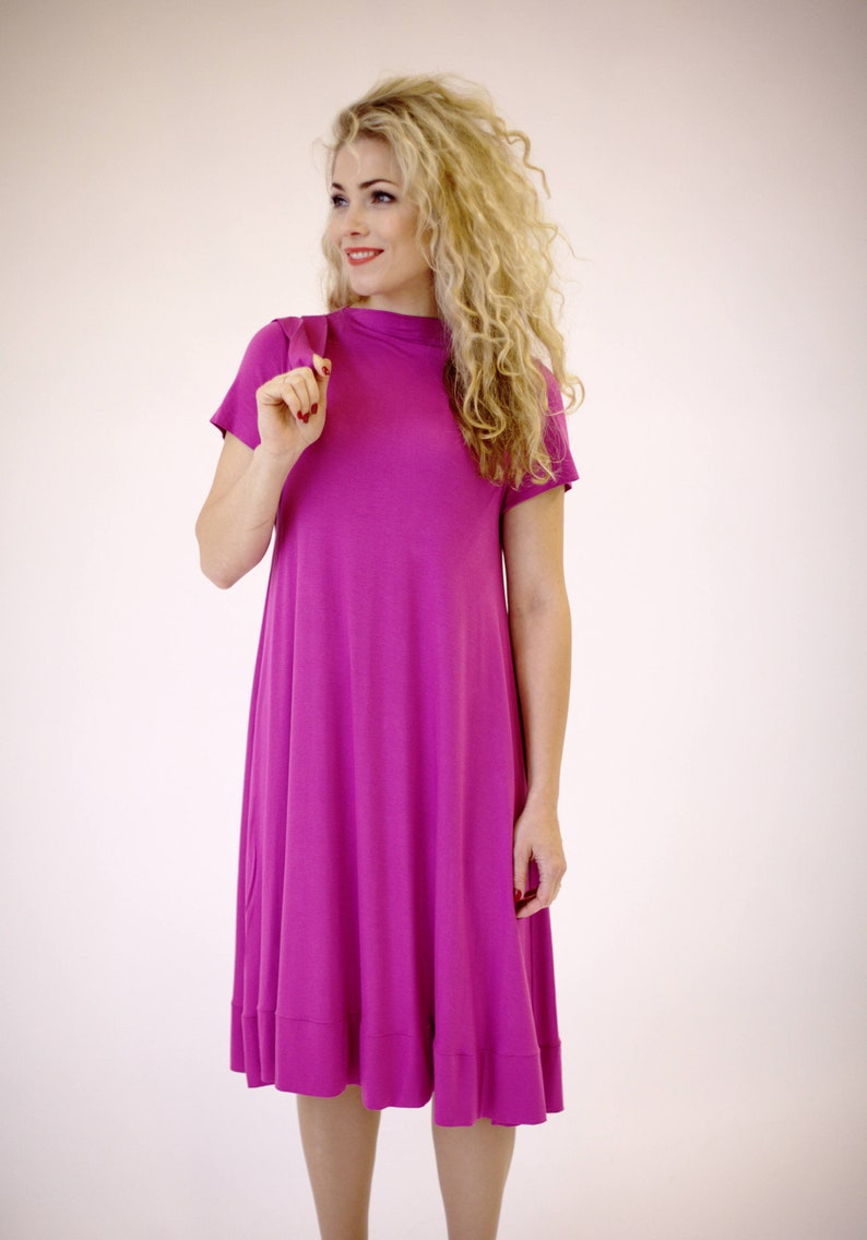 b0db05cdae2c Pink dress short sleeve pink summer dress fuchsia dress midi   Etsy