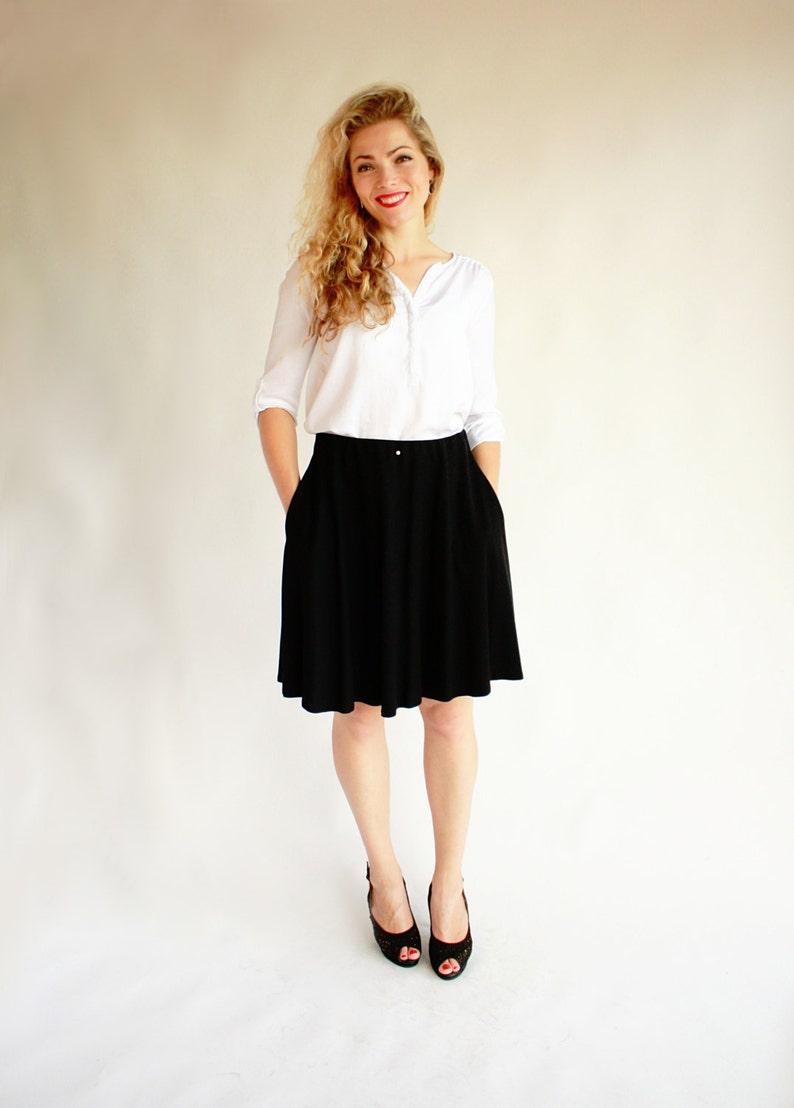 22c648c353 Black midi skirt with pockets knee length skirt black half | Etsy