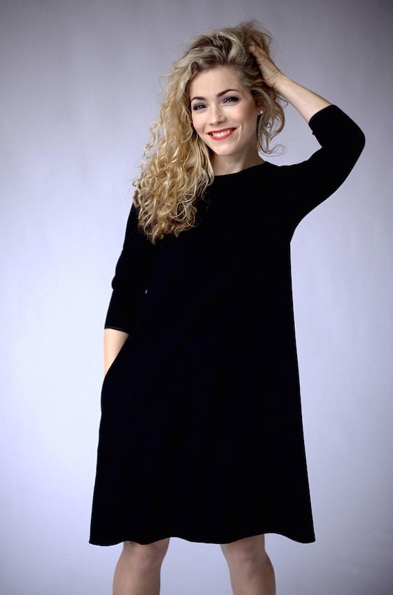 Midi Dress Black Casual Dress With Pockets Black A Line Etsy