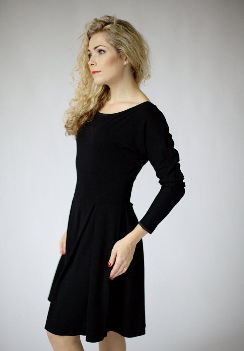 c9a4259edf Casual black dress with kimono style long sleeves black long