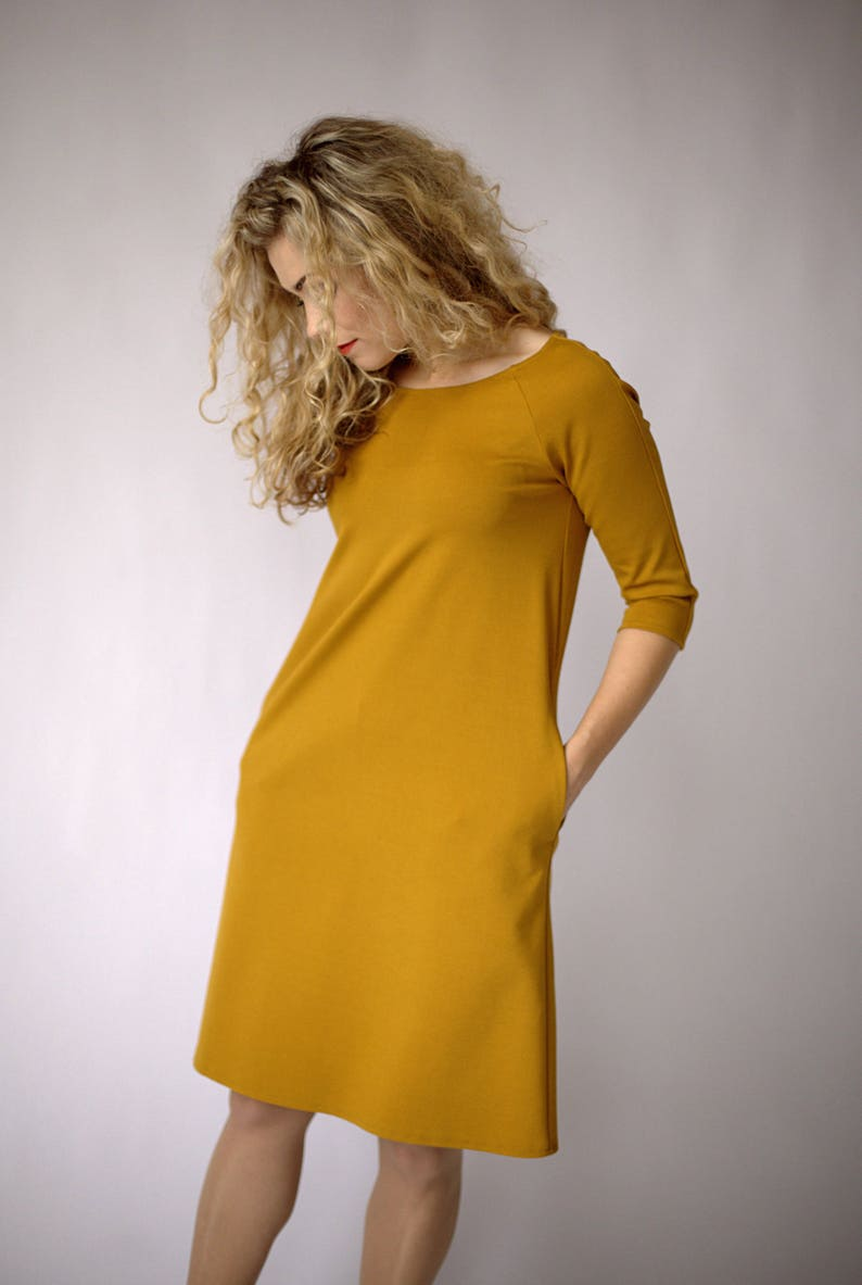 Casual mustard dress long sleeve casual autumn dress long  84f7ceba5