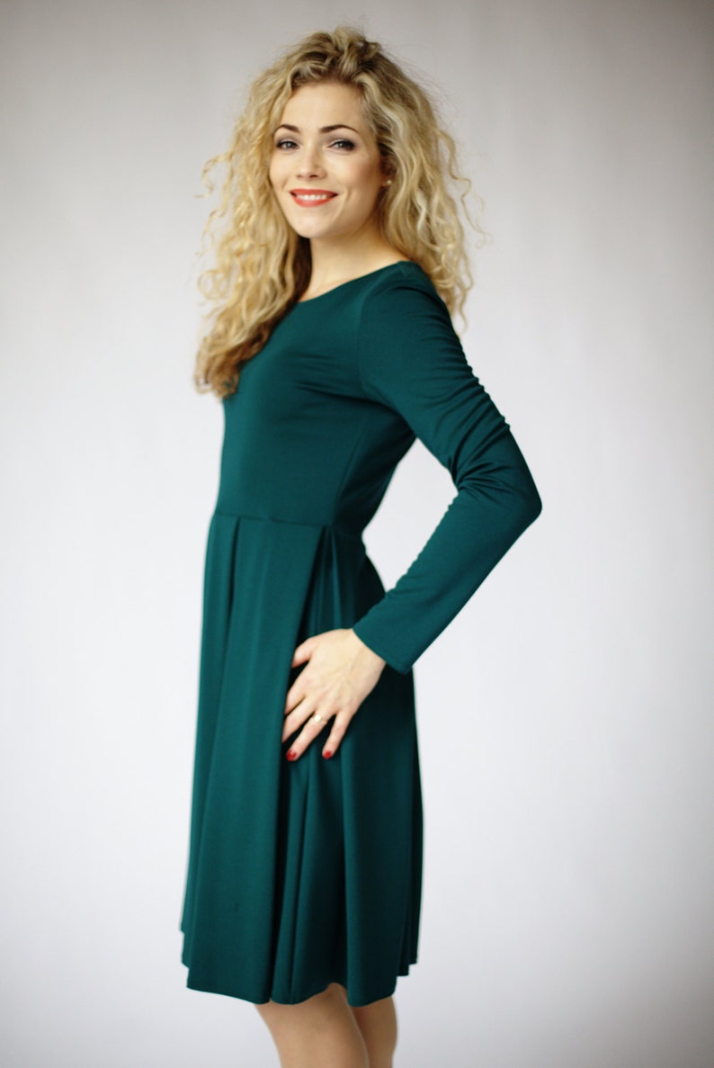 371d3799c5 Green dress long sleeve dresses for women fit and flare | Etsy