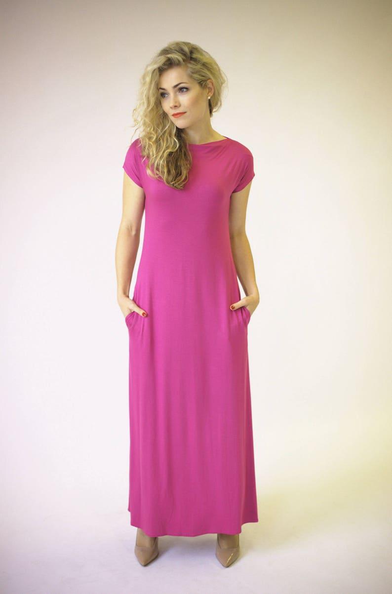 7e4517871eb Holiday maxi dress with short sleeves and pockets maxi