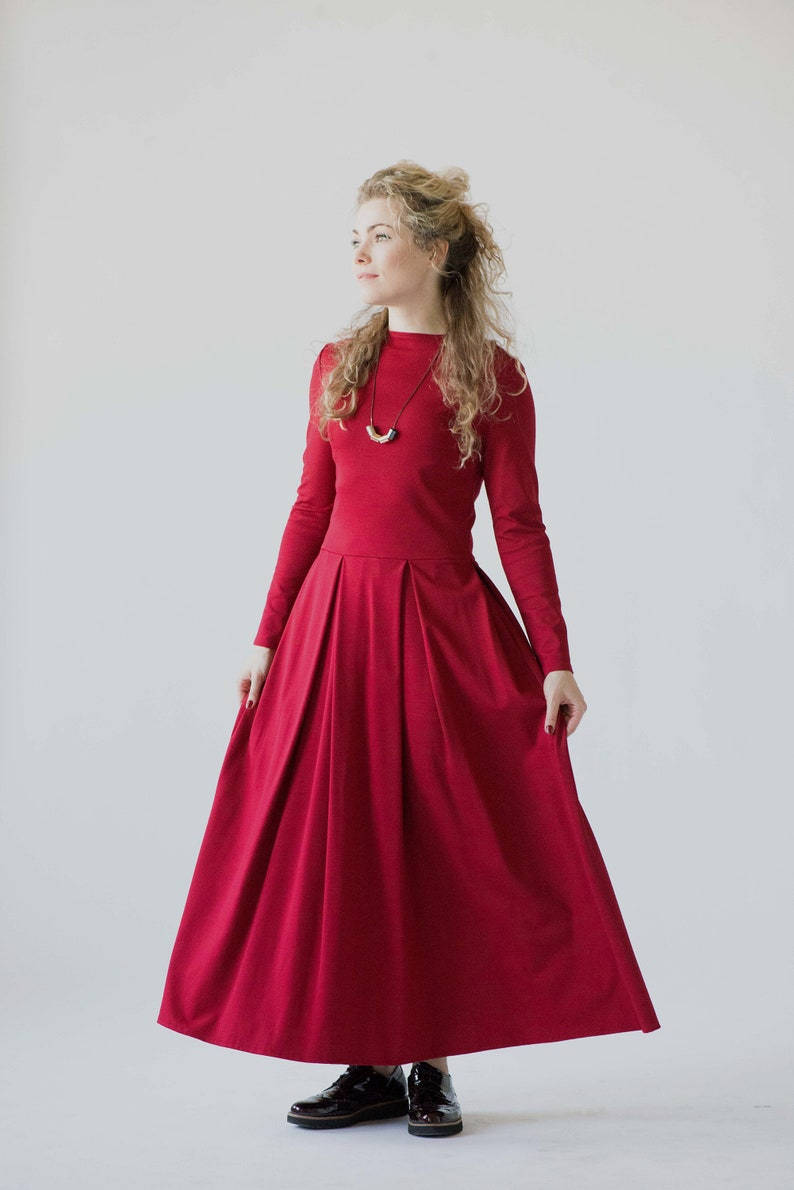 4f7b1bfd2ee Red maxi dress with long sleeves special occasion womens