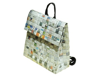 Eco Backpack made of newspaper FREE SHIPPING women s backpacks sustainable  vegan upcycled gifts for vegetarian vegan women mom my girlfriend dbc16982e3c43