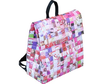 Backpack made from magazine paper FREE SHIPPING backpacks for women  repurposed back pack vegan recycled gifts gift for vegan vegans women dbaf4382657af