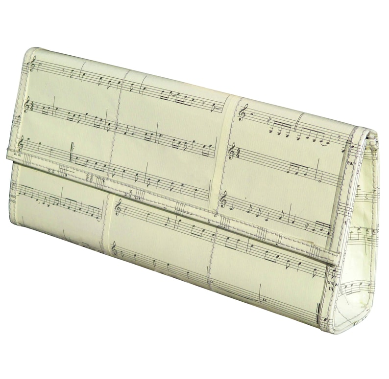 Clutch purse using musical note sheet, FREE SHIPPING, music teacher gift  for musician piano violin player concert, crossbody Upcycled bag