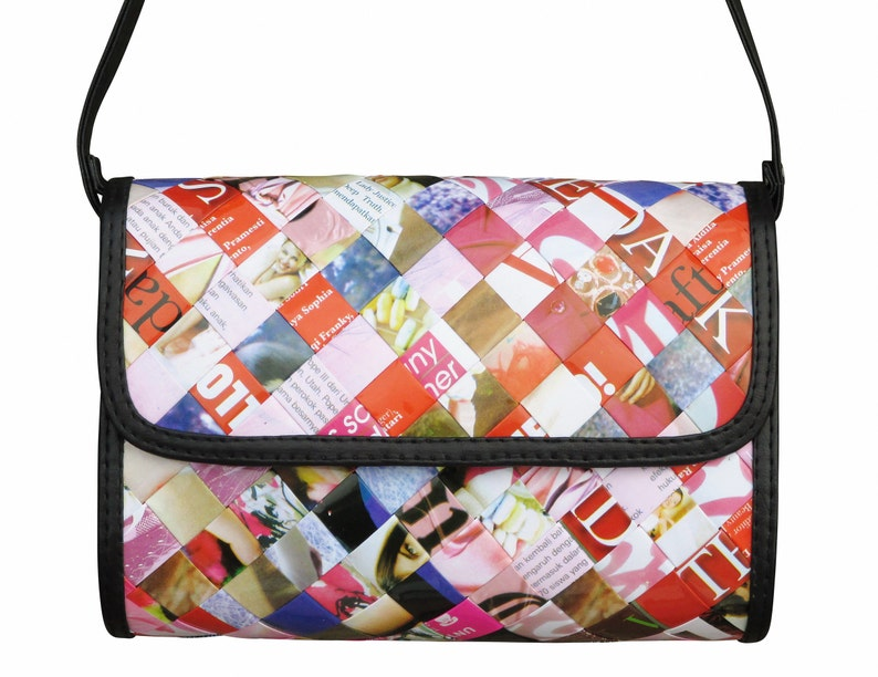 eb1633a6f5 Crossbody bag made from woven magazine paper, FREE SHIPPING gift idea for  vegetarian colorful vibrant woven weaving handmade crafted fun n