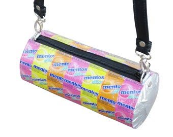 Mentos wrapper crossbody , FREE SHIPPING, candy wrappers bag , candy wrappers purse, Upcycled recycled, naveh milo, upcycling by milo