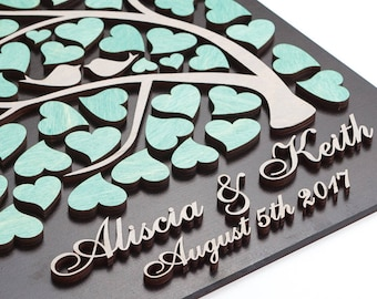 Custom Wedding guest book alternative 3D Wedding guest book Wedding Rustic guest book alternative MINT GRAY WEDDING Tree guest book Hearts