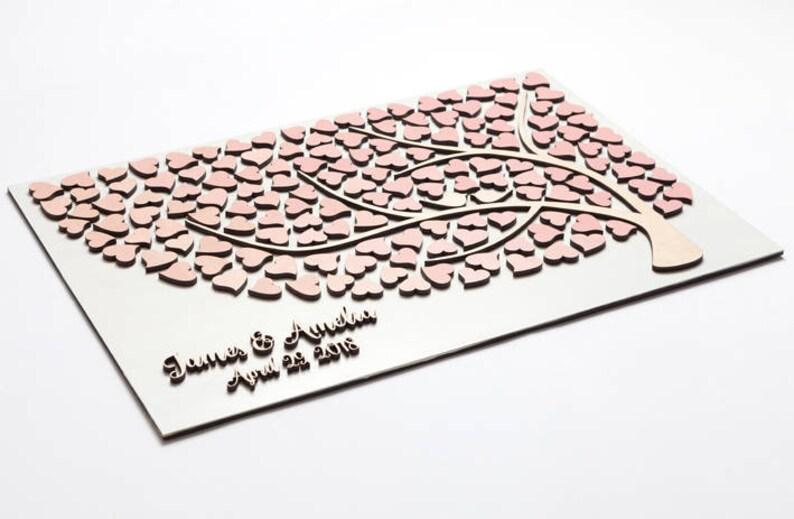 Wedding Guest Book Alternative 3D Guestbook Rustic Guest Book Wood Tree of Hearts Wedding Guestbook Alternative White Blush Wedding Decor