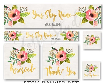 Etsy Banner Set Rustic Floral Peonies Boho Facebook Timeline Cover Business Card Premade Store