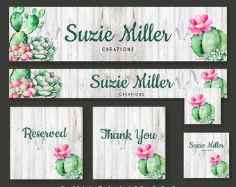 Editable Etsy Shop Banner Kit Editable Shop Banner for Succulents and Cactus Business Etsy Shop Branding Kit Succulent theme Banner