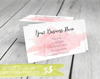 Blank business cards etsy business card template watercolor business card instant download diy blank business card template bc004 reheart Gallery