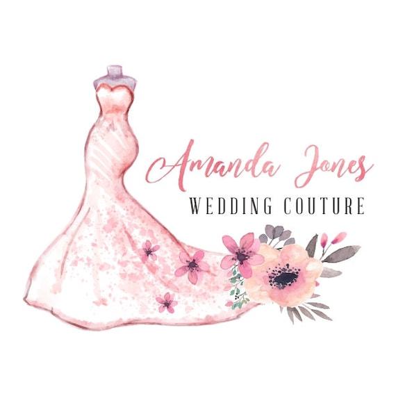 premade logo design wedding dress floral bridal shower prom etsy rh etsy com Wedding Shower Clip Art bridalshower logo free
