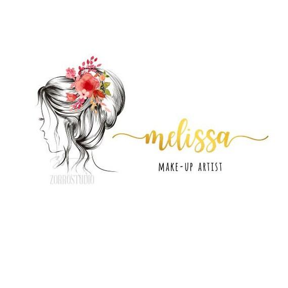 Premade Logo Femme Floral Pivoines Maquillage Cheveux