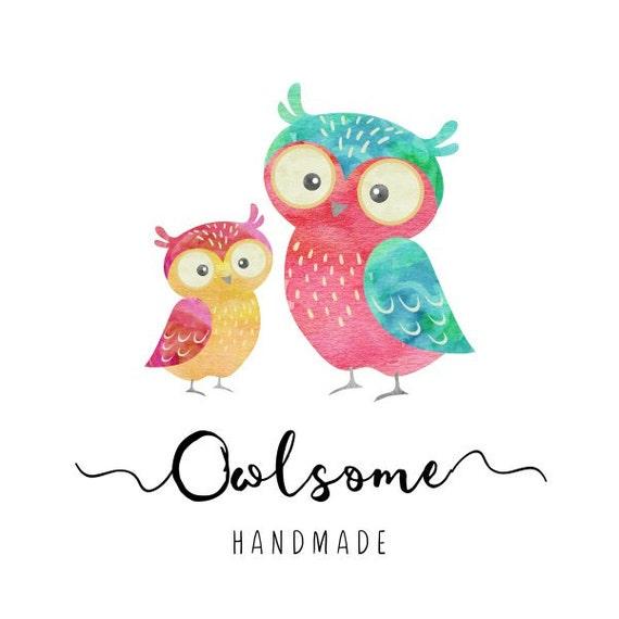 Premade Logo Diseño buho Logo bebé ducha signos vivero aves | Etsy