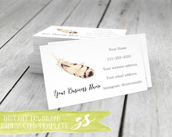Feather Business Card Template, Feather Birds Boho Tribal Watercolor Business Card, Instant Download DIY Blank Business Card Template -BC028