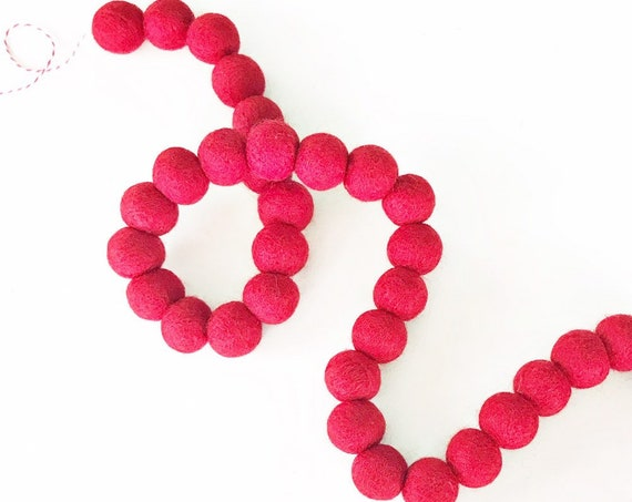 Valentine's Day Red Felt Ball Garland | Red Pom Pom Garland | Valentine's Day Decorations | Valentine's Day Banner | Red Woolie Ball Garland
