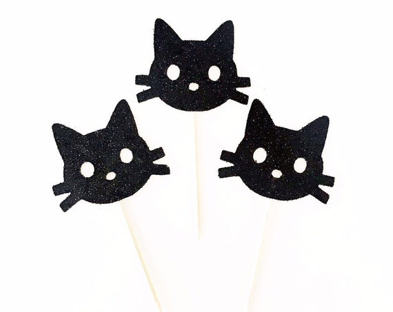 Black Cat Cupcake Toppers