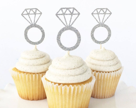 Diamond Ring Cupcake Toppers / Engagement Ring Cupcake Toppers / Engagement Party Decorations / Bridal Shower Dessert Table Decor