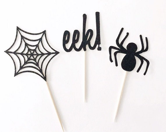 Halloween Cupcake Toppers | Spiderweb Topper | Spider Cupcake Toppers | Eek! | Halloween Party Decorations | Happy Halloween | Spooky Decor