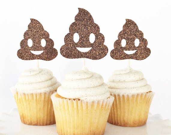 Poop Emoji Cupcake Toppers / Emoji Party Decorations / Emoji Birthday / Poop Face Emoji / Holy Sh*t You're Old / Emoji Cupcake Toppers