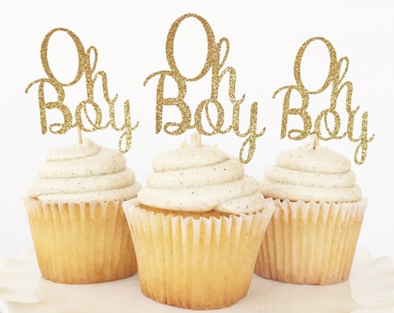 Oh Boy Cupcake Toppers / Oh Boy Cake Topper / Boy Baby Shower / Gender Reveal Party Decor / Sip and See / Baby Sprinkle / First Birthday