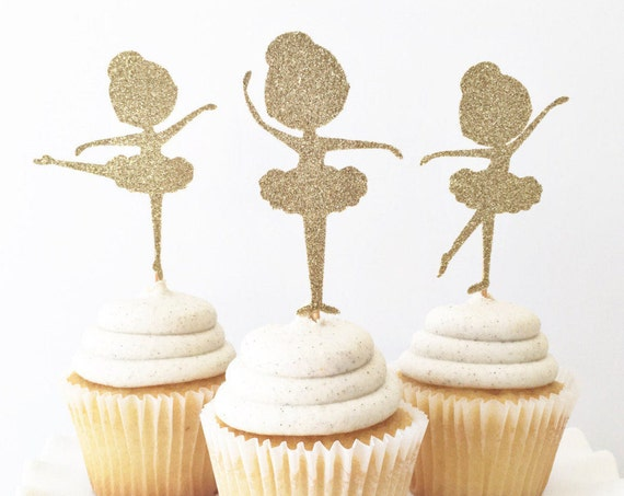 Ballerina Cupcake Toppers / Ballet Birthday Party / Little Girls Birthday Party Decor / Ballerina Theme Party / Cake Topper / Dance Party