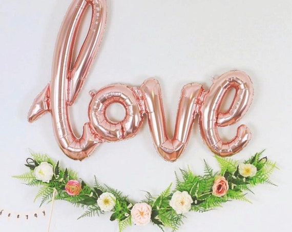 Rose Gold Cursive Love Balloon / Foil Love Balloon / Bridal Shower Balloon / Engagement Party Balloon / Valentine's Day Balloon