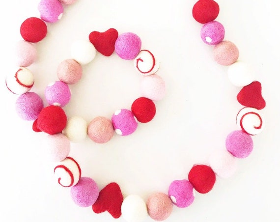 Valentine's Day Felt Ball Garland | Felt Hearts | Heart Garland | Valentine's Day Decorations | Valentines Felt Balls | Red and Pink Garland