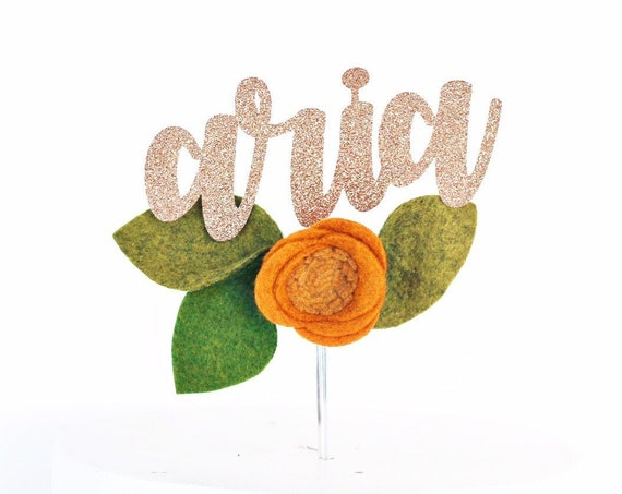 Custom Name Cake Topper with Orange Felt Flower