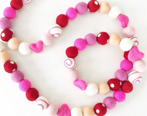Valentine's Day Felt Ball Garland | Felt Heart Garland | Valentine's Day Decorations | Galentine's Decor | Heart Banner | Be My Valentine