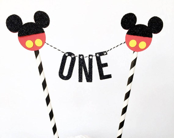 Mickey Mouse First Birthday Cake Topper / Mickey Mouse Cake Bunting / Cake Banner / Mickey Mouse Clubhouse 1st Birthday Party / One