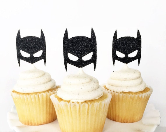 Batman Cupcake Toppers / Boy Birthday Party / Batman Theme Birthday Party / Superhero Birthday Party Decor / Little Boy Cupcake Toppers