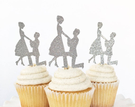 Engagement Cupcake Toppers | Engaged Couple | Proposal | She Said Yes | We're Engaged | Engagement Party Decorations | We're Getting Married