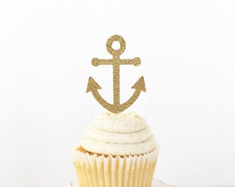 Anchor Cupcake Toppers / Last Sail Before The Veil / Tying The Knot / Bachelorette Party / Bridal Shower / Ahoy It's a Boy Baby Shower