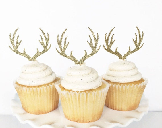 Antler Cupcake Toppers / Deer Cupcake Toppers / Rustic Theme Baby Shower / Boy Baby Shower / Oh Deer / Deer Antlers / Rustic Party Decor