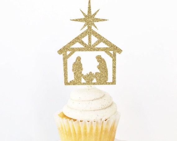 Nativity Scene Cupcake Toppers / Christmas Cupcake Toppers / Religious / Jesus Birthday Cupcakes / Happy Birthday Baby Jesus