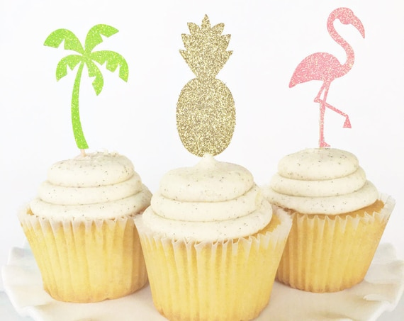 Tropical Cupcake Toppers / Pineapple Cupcake Toppers / Palm Tree Toppers / Flamingo Cupcake Toppers / Hawaiian Party / Beach Party / Luau