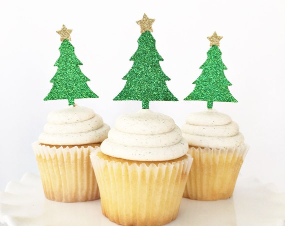 Christmas Tree Cupcake Toppers / Christmas Party Decor / Christmas Dessert Table Decor / Christmas Cupcakes / Ugly Sweater Party / Holiday