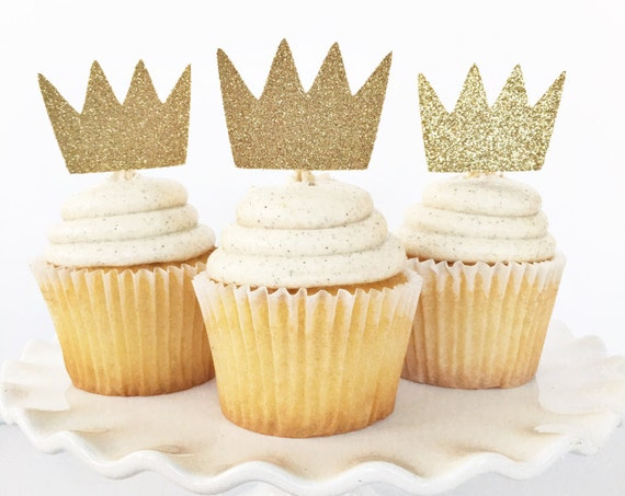 Where The Wild Things Are Gold Crown Cupcake Toppers / Little Boy First Birthday Party Theme / Little Prince / King Of Wild Things