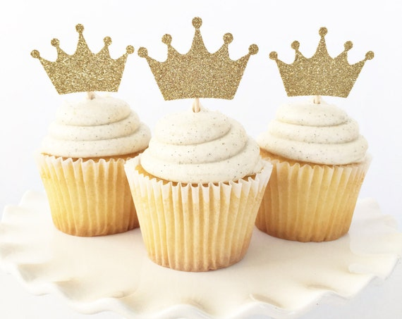 Gold Crown Cupcake Toppers / Where The Wild Things Are / Boy First Birthday / Little Prince Baby Shower / Princess / Wild One Theme