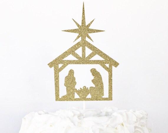 Nativity Scene Cake Topper / Christmas Cake Topper / Religious / Jesus Birthday Cake Topper / Happy Birthday Baby Jesus / Christmas Decor