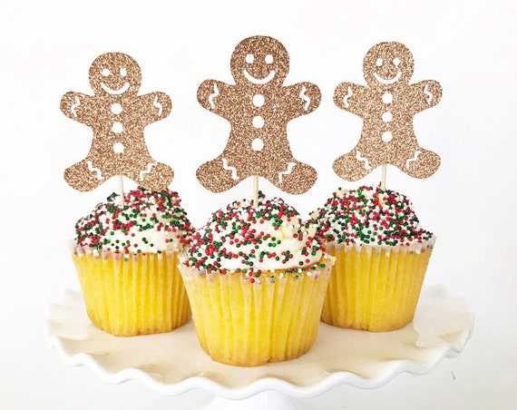 Gingerbread Man Cupcake Toppers / Gingerbread Man Decorations / Gingerbread House / Christmas Toppers / Gingerbread Cake Topper