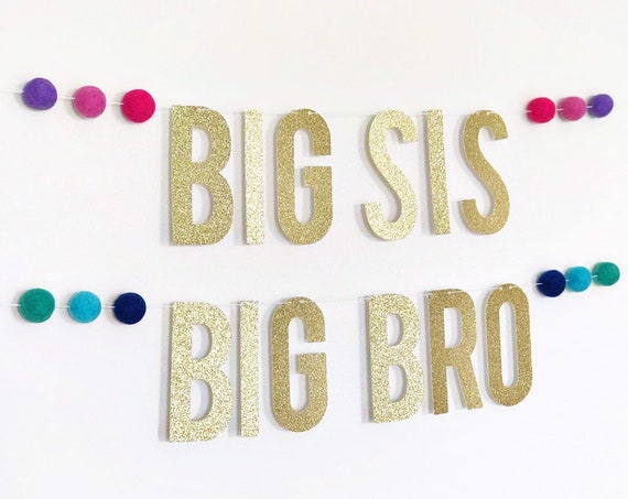 Big Sis Banner / Big Bro Banner / Big Brother Announcement / Promoted to Big Sister Banner / Second Baby Announcement / Pregnancy Banner