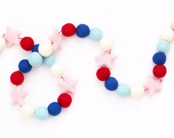 4th of July Felt Ball Garland With Felt Stars