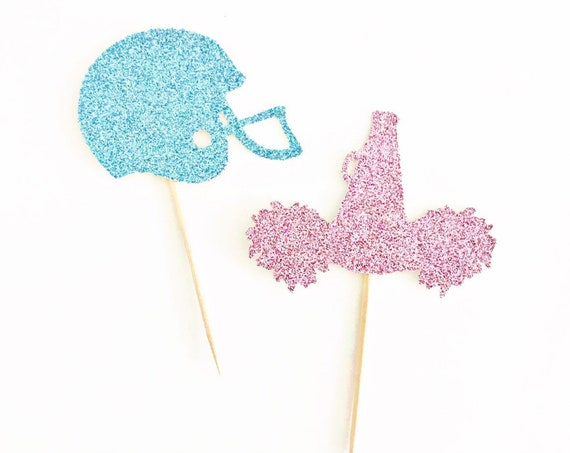 Pom Poms or Footballs Gender Reveal Cupcake Toppers