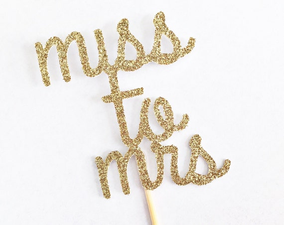 Miss To Mrs Kate Spade Inspired Cupcake Toppers / Cake Topper / Kate Spade Theme Bridal Shower / Bachelorette Party / Bride To Be