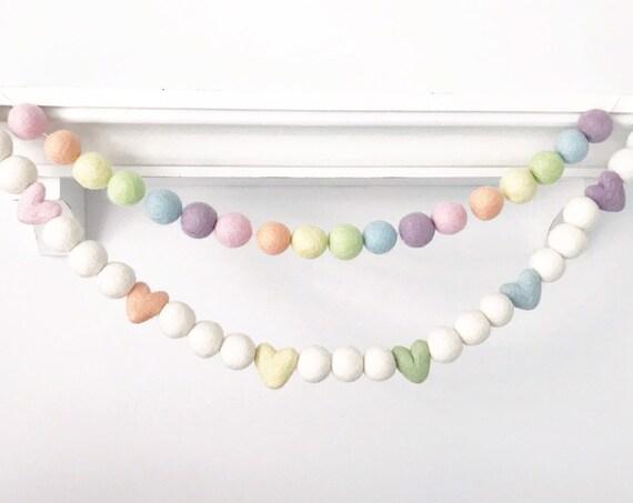 Candy Hearts Garland / Pastel Rainbow Garland / Heart Felt Balls / Pastel Hearts Garland / Pom Pom Garland / Valentine's Day Felt Garland